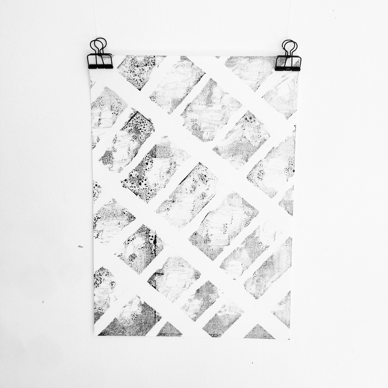 Mono print on japanese washi paper. (Ghost print)